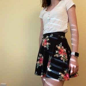 Forever 21 Black Skater Skirt with Pink Flowers